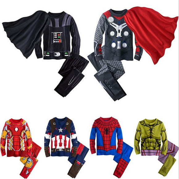 Kids Cosplay Clothes Set Outwear Cartoon Avengers Marvel Superhero Iron Man Captain America Spiderman Sweatshirt
