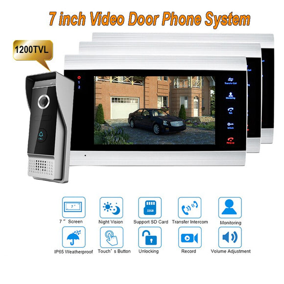 New 7 inch 1200TVL Video Intercom System Door Phone Doorbell With  IP65 wide Angle 110 degree Camera DoorPhone 1V3