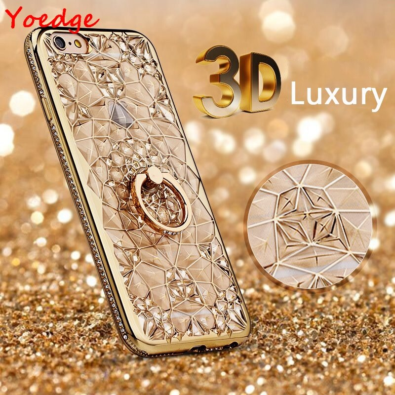 3D Soft Case For iPhone X XS Max XR Ring Silicone Glitter Cover For iPhone 5 6 6S S 7 8 Plus Stand Luxury Crystal Flower Case