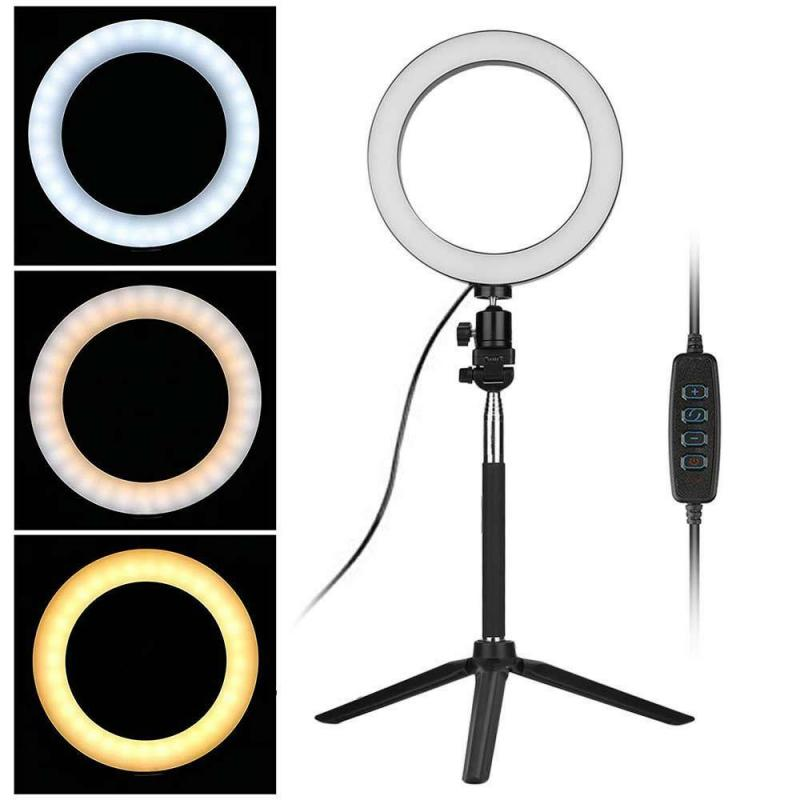 Video Light Dimmable LED Selfie Ring Lights Stand Kit USB Ring Lamp Photography Light With Phone Holder Tripod Phone Selfie