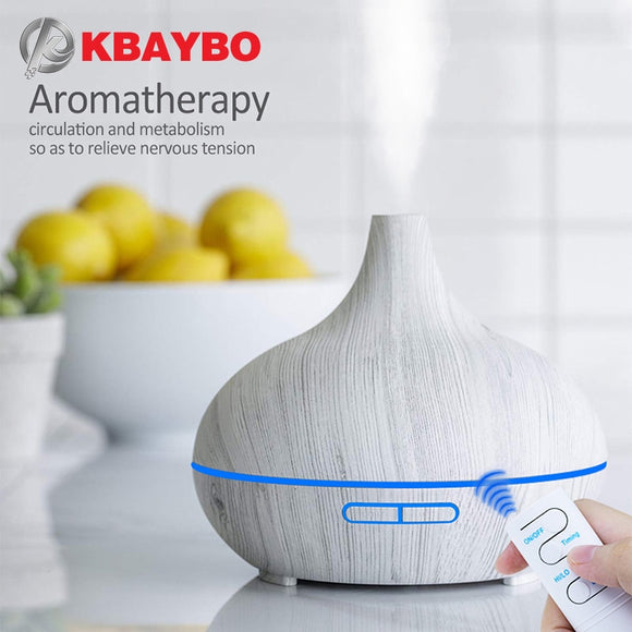 KBAYBO Aroma Diffuser Air Purifier Humidifier wood grain Essential Oil Diffusers 7 color night light Mist Maker Fogger for home