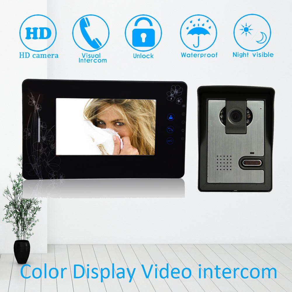 Wire video door bell 7 inch color LCD screen water proof camera doorbell ring Building intercom system RFID card unlock