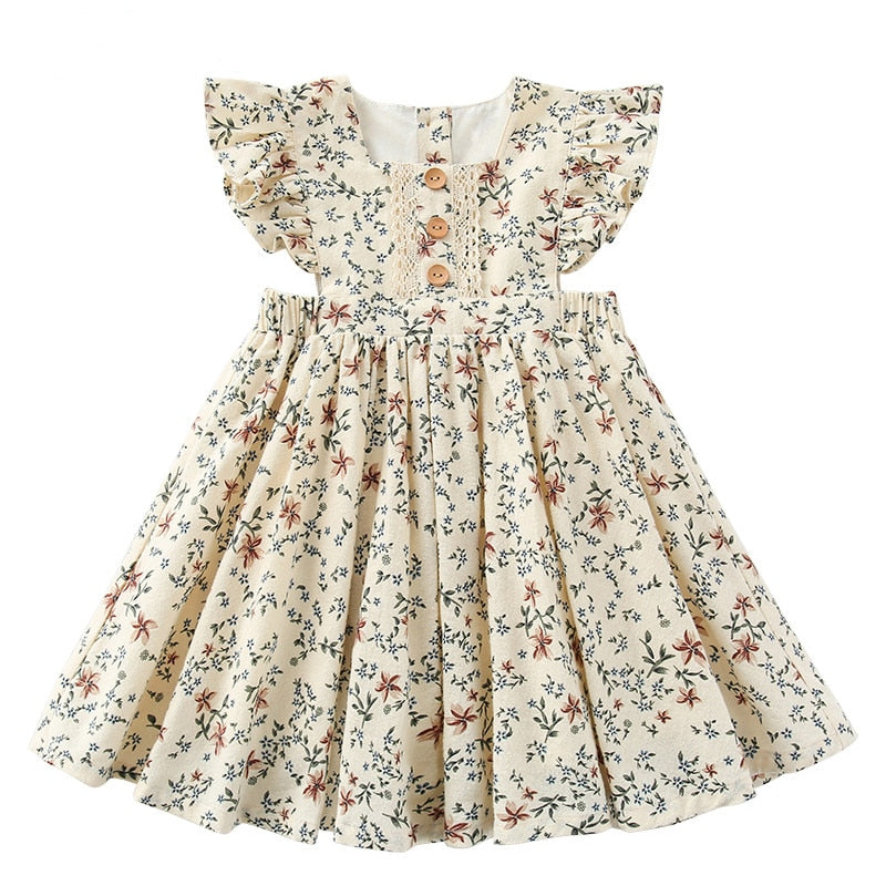 Lovely Kids Girls Unicorn Butterfly Floral Dresses Sleeveless A Line Dress 4-9Y