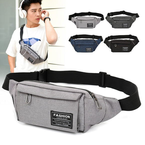 Waterproof Men Crossbody Waist Bags Running Sport Chest pocket bag Travel Pack Belt Bag Headphone Plug Shoulder Messenger Bag