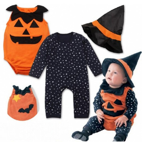 3PCS Baby Halloween Outfits Infant Baby Autumn Winter Romper Kids Star Pumpkin Jumpsuit+Witch Hat Costume Set HOOLER