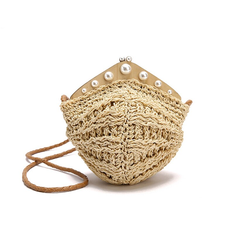 Summer rattan bag Women sling bag Chic packet Summer pearls Dumpling bag beach Messenger Shoulder wallet designed bag for women