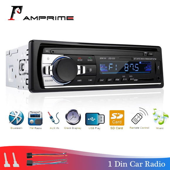 AMPrime Car Radio Bluetooth FM Stero Radio USB SD AUX Audio Player Auto Electronics Subwoofer In-Dash 1 DIN Autoradio ISO 12Pin