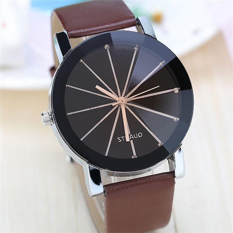 Couple Watch Leather Belt Minimalist Fashion Radial Ray Couple Gift Trending Lover Watch Gifts for Men Women Wristwatches Unique