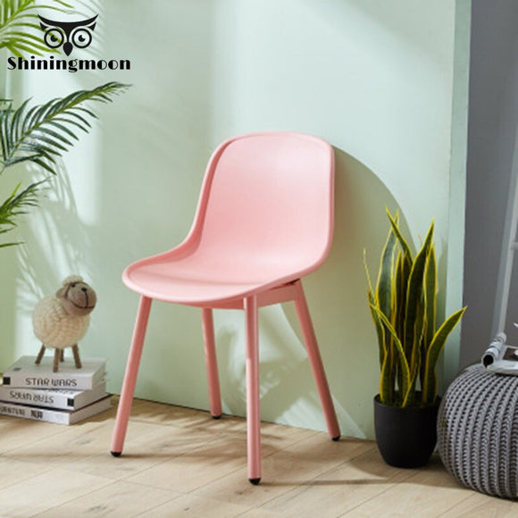 Nordic Wrought Iron Plastic Chair Restaurant for  Dining Room Chairs Office Business Home Bedroom Pink White Chair Furniture