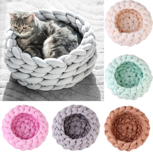 Pet Cat Bed House Handmade Knit Puppy Pillow House Soft Warm Dog House Mat for Cat Small Dog 5 Color Pet Sleeping Cave Cozy Beds