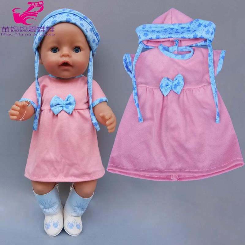 "40cm Baby Doll dress with hat for baby doll clothes 18"" American OG girl Doll outfits baby girl birthday gift"