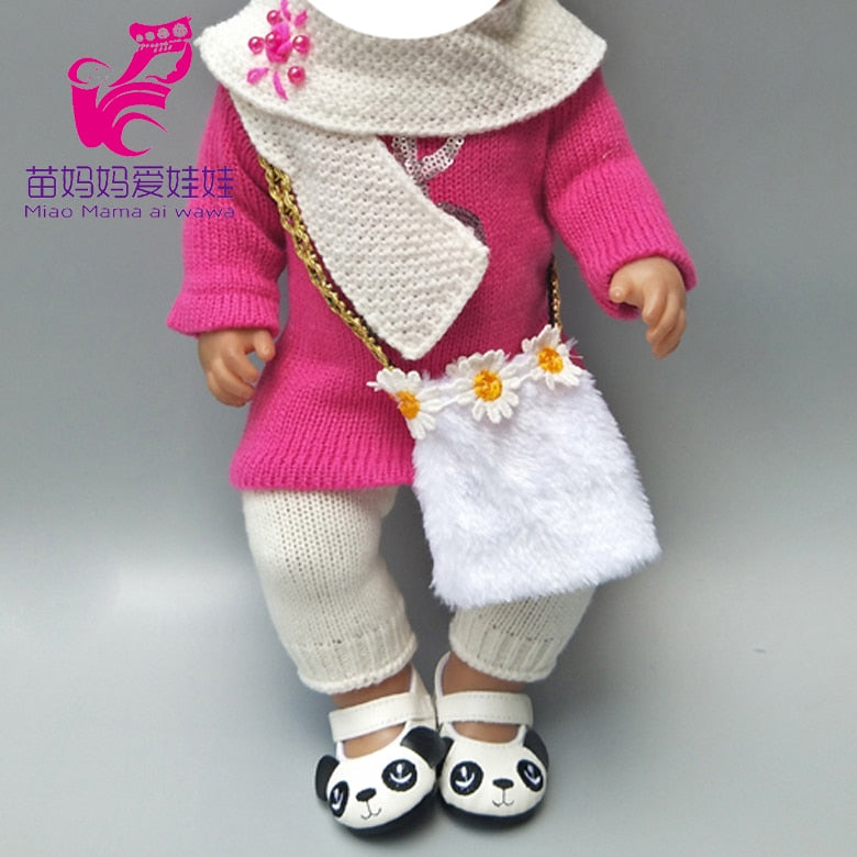 new born baby dolls clothes set for 43cm bebe Doll knit dress hat scarf For 18 inch Girl Doll Toy Doll  Accessories