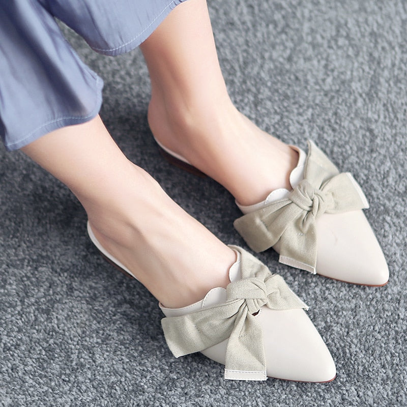 Spring Pointed Toe PU Leather Women Mules Slippers Flats Butterfly Loafers Woman Casual Shoes 11811ABX2060