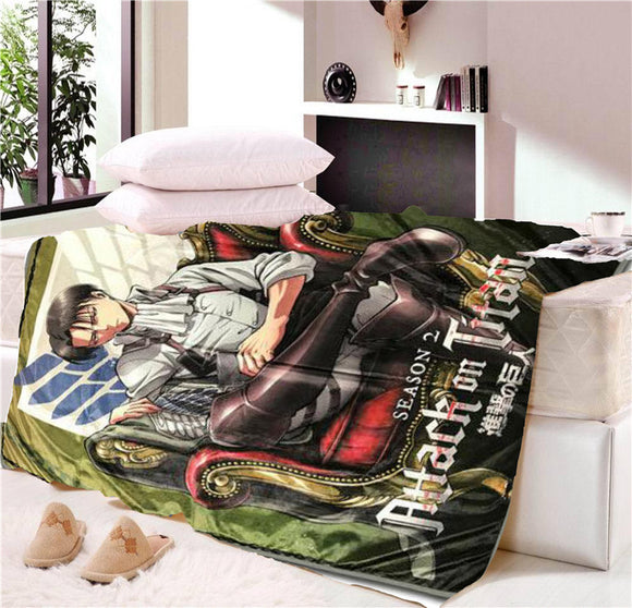Anime Attack on Titan Blanket Mat Tapestry Soft Travel Cover Bedspread Beach Towel Mat Blanket Table Beach Towel Cosplay