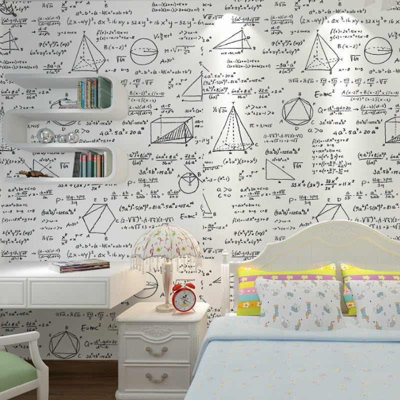 Black White Wallpaper blackboard geometry math formula personality wallpaper children's room cafe dining room theme wallpaper