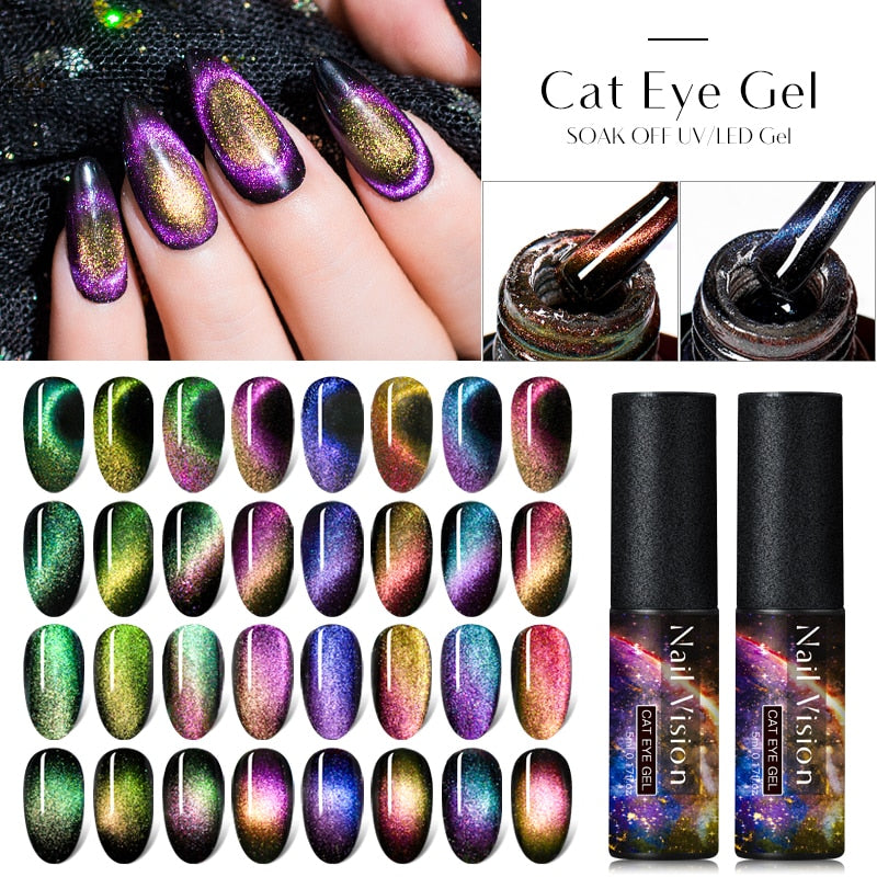 Nail Vision  5ML UV Cat Eye Gel Nail Polish Chameleon Soak Off Magnetic Nail Art UV Gel Varnish Long Lasting Nail Gel Polish