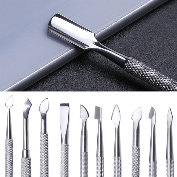 1Pcs Dual-end Nail Cuticle Pusher Spoon Stainless Steel UV Gel Polish Removal Trimmer Dead Skin Grinding Rod Manicure Tool JIA17