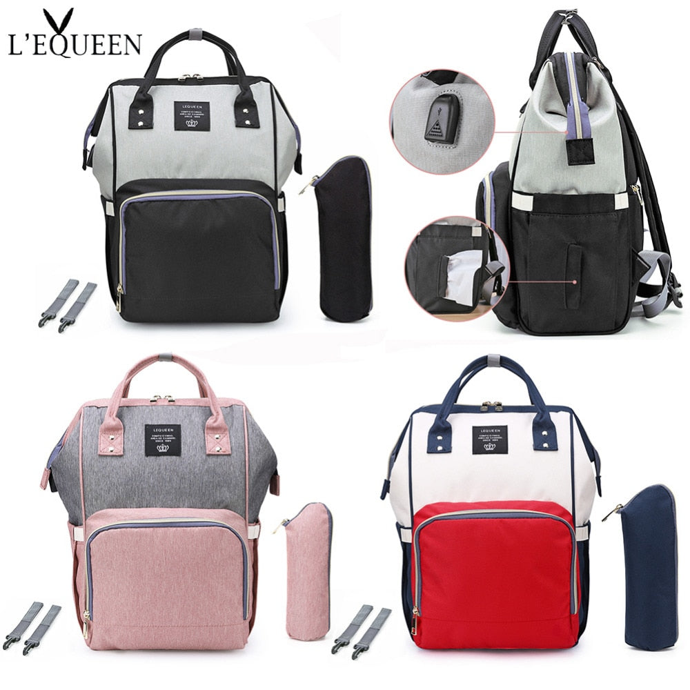 LEQUEEN Fashion USB Mummy Maternity Diaper Bag Large Nursing Travel Backpack Designer Stroller Baby Bag Baby Care Nappy a Bag