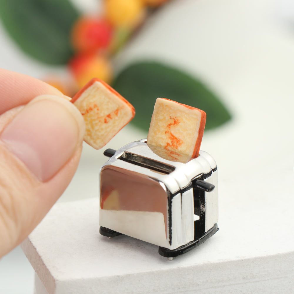 1//12 Scale dollhouse bread machine with toast miniature decorations toaster XEC