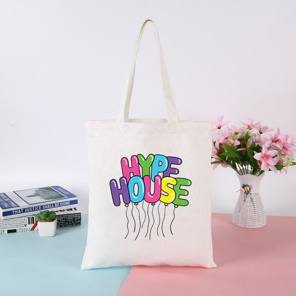 Womens Canvas Tote Bags Korean Style Shopping Bag The Hype House Printing Messenger Bag Ladies Hand Bags Reusable Shoulder Bag
