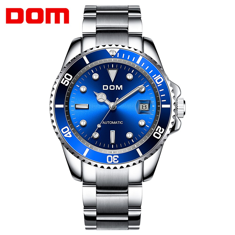 DOM Luxury Men Watches Automatic Classic Blue Dial Watch Men Stainless Steel Waterproof Business Sport Mechanical Wristwatch