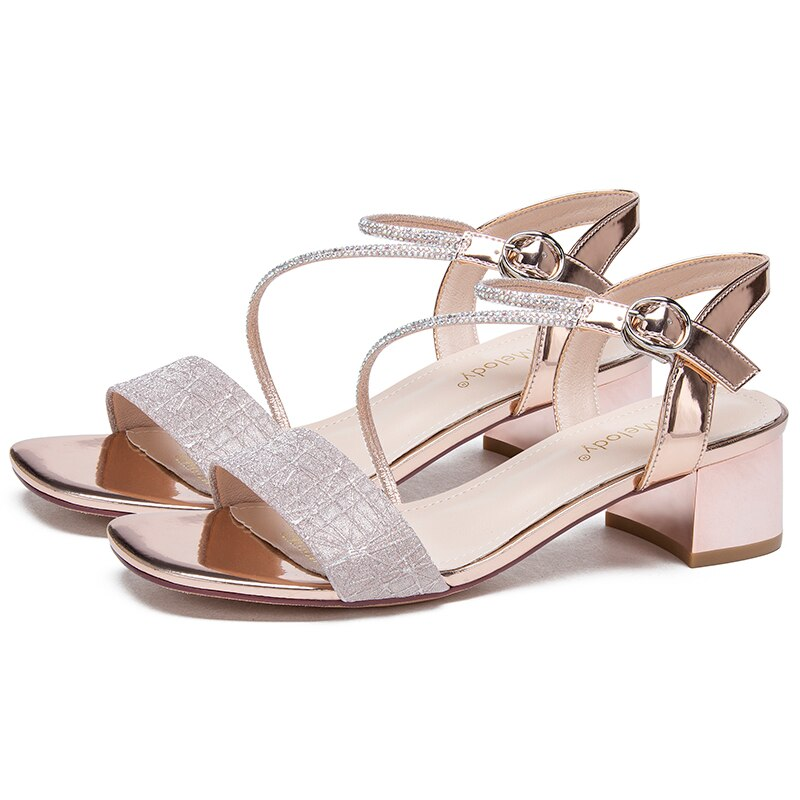 Luxury Shoes Women Designers 2020 Summer 4CM  High Heels Silver Champagne Sandals 21803AYY4620