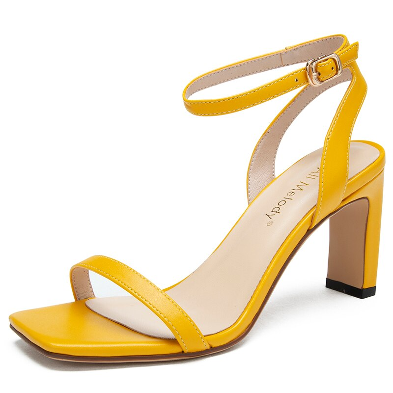 2020 Summer Yellow Black Women Sandals 8CM Thick Chunky Heels Femme Shoes 11803AJS4782