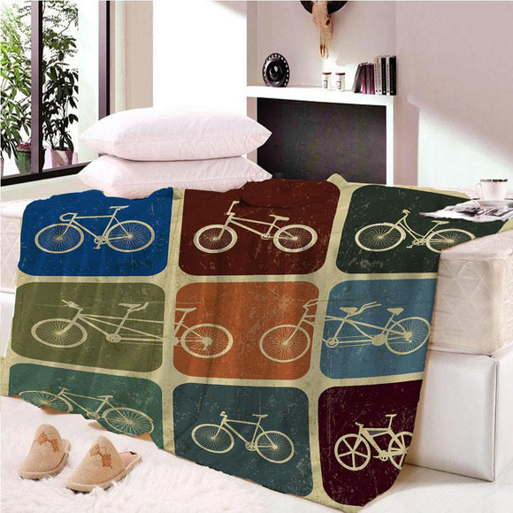 Cartoon Bike Colorful Space Blanket Mat Tapestry Soft Throw Bedspread Beach Towel Warm Travel For Kids Boys  Girls