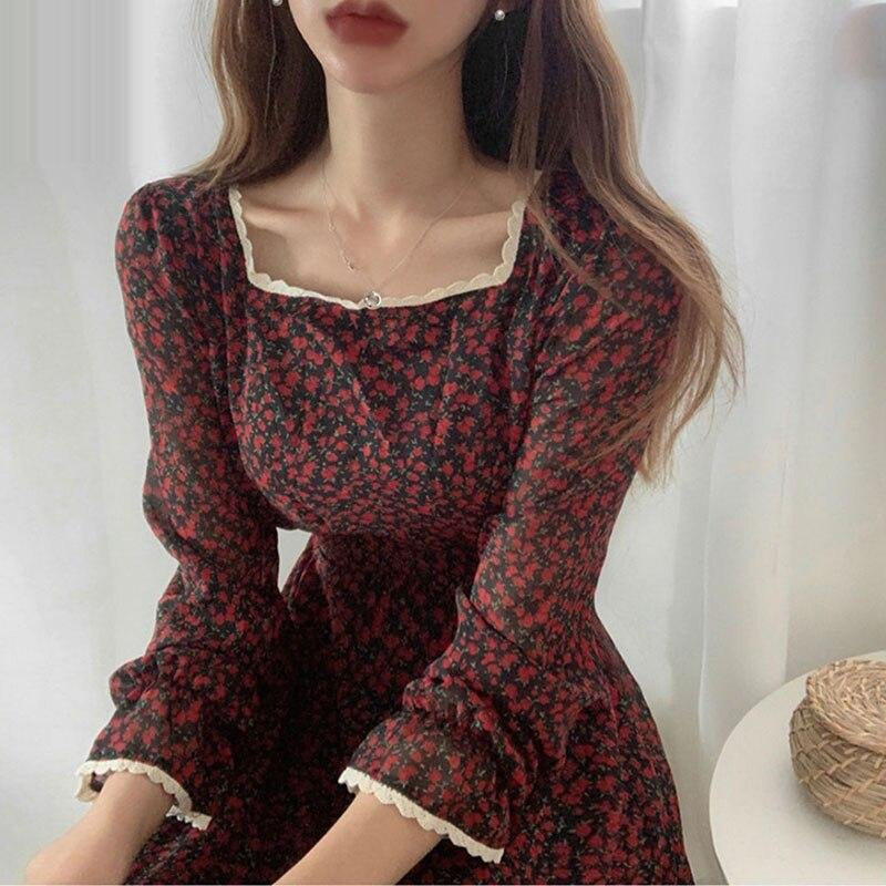 Elegant Flower Ruffle Korean Woman Dress Square Collar High Waist Casual Dresses Flare Sleeve Bandage Summer Red Dress Vestido