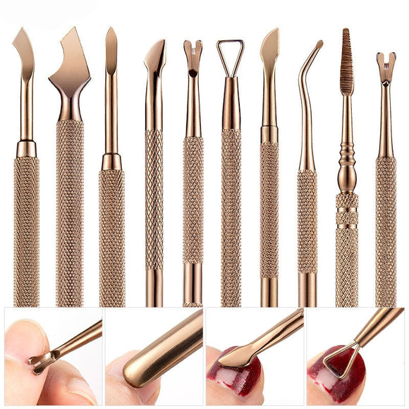 13 Style Retro Bronze Nail Cuticle Pusher Cleaning Dead Skin Cut Gel Polish Remover Stainless Steel Manicure Pedicure Care Tool