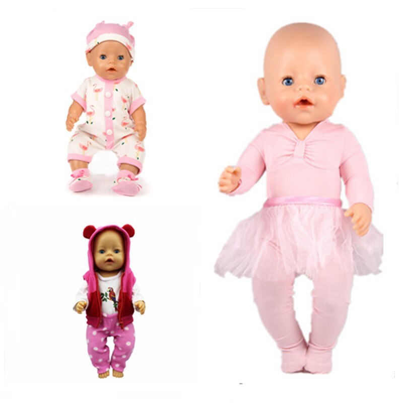 Doll Clothes Baby New Born Fit 18 inch 43cm DollDance Dress 3-piece Hat Red Pink Suit Accessories For Baby Birthday Gift
