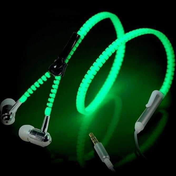6 Colors Full Glowing Earphone Luminous Light Metal Zipper Ear Phones Glow in The Dark for iphone Samsung MP3 with Microphone