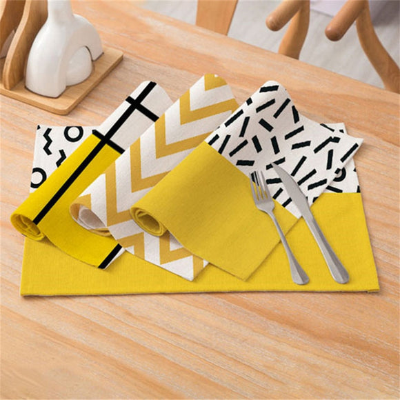 Fuwatacchi Yellow Geometric Printed Kitchen Placemat Dining Table Mat Drink Coasters Polyester Bowl Pads Tea Party Decoration