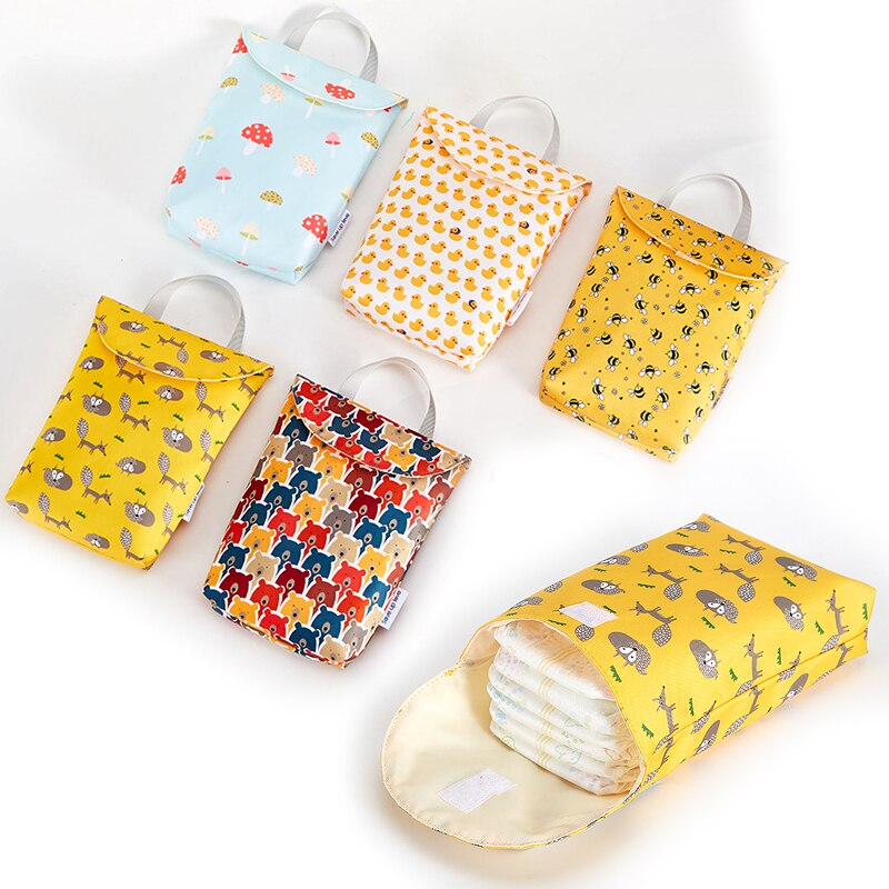 Multifunctional Baby Diaper Caddy Organizer Reusable Waterproof Fashion Prints Wet/Dry Bag Mummy Storage Bag Travel Nappy Bag