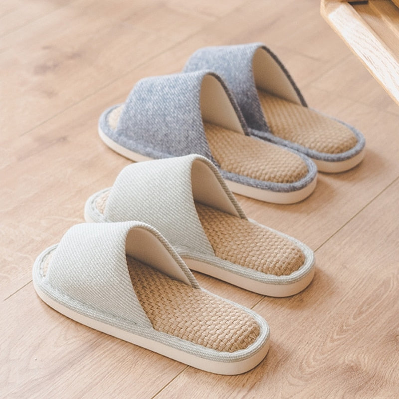 Indoor Women Hemp Cotton Slippers Spring Autumn House Health Hemp Ladies Flat Shoes Non-slip Living Room Luxury Women Slippers