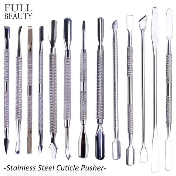 1pcs Double-end Silver Cuticle Remover Stainless Steel Finger Dead Skin Cut Manicure Stirring Rods Nail Art Pusher Tool CH01-16