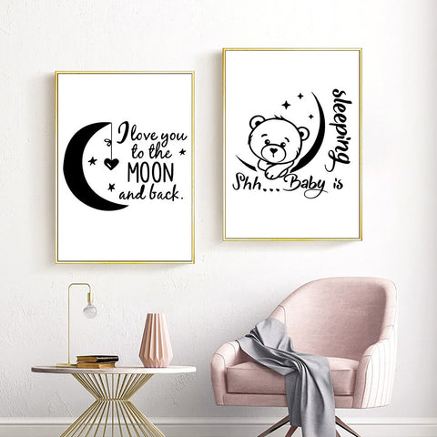 i love you to the moon back Watercolor a4 glossy Print nursery picture unframed