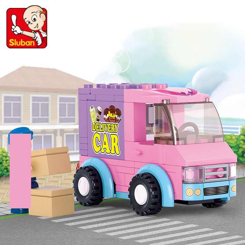 102Pcs City Girl Friends Snack Delivery Car Travel Dining Car Building Blocks Figures Playmobil Brinquedos Toys for Children