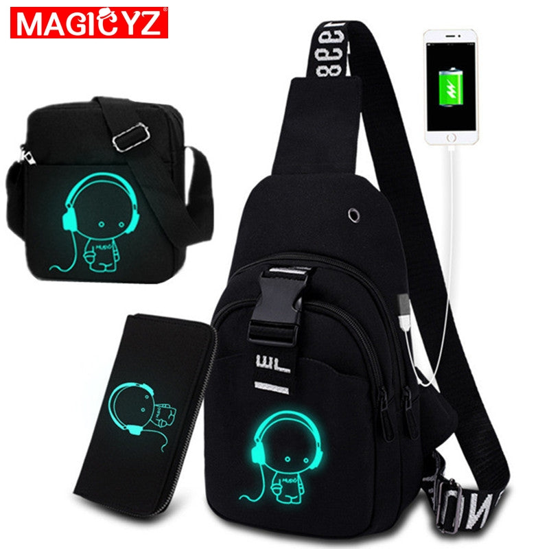 Multifunction Fashion Men Crossbody Bags USB Charging Chest Pack Short Trip Luminous Chest bag Young Men 's shoulder bag