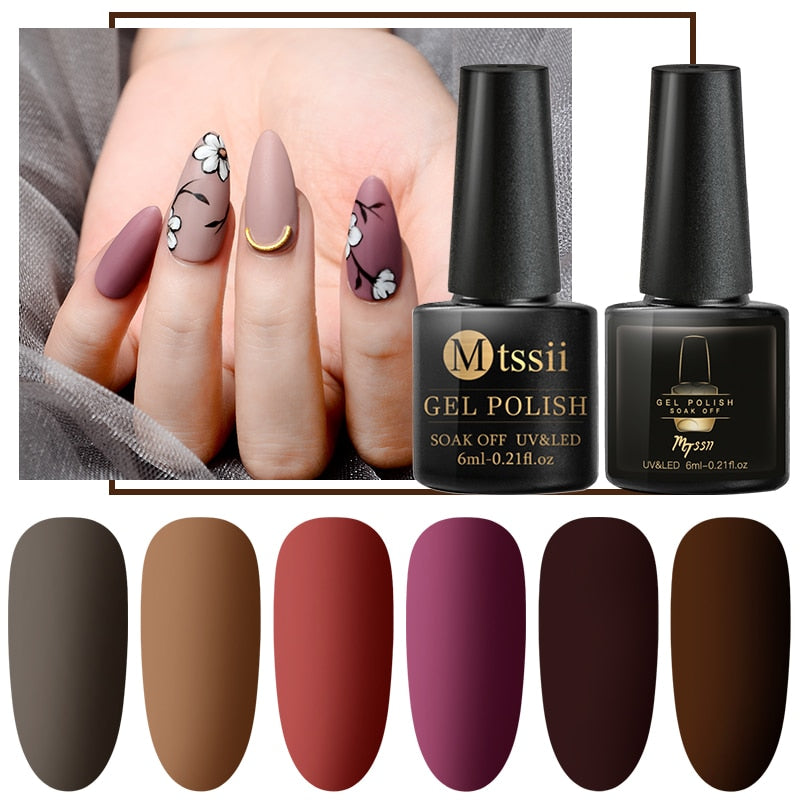 Mtssii 6ml Color UV Gel Nail Polish Lacquer Soak Off Semi-Permanent Long Lasting Nail Art UV Gel Varnish Matte Top Coat Needed