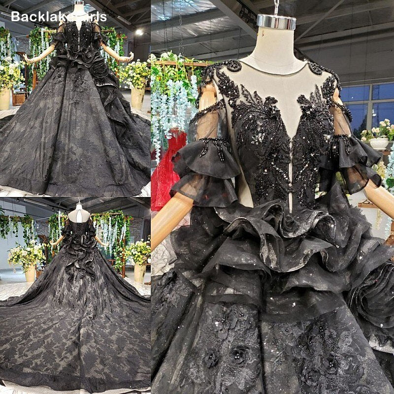 Woman Elegant 2020 Black Wedding Dress Long Ball Gowns Beads Applique Flowers Lace Up With Train Vestido De Novia Bridal Gowns
