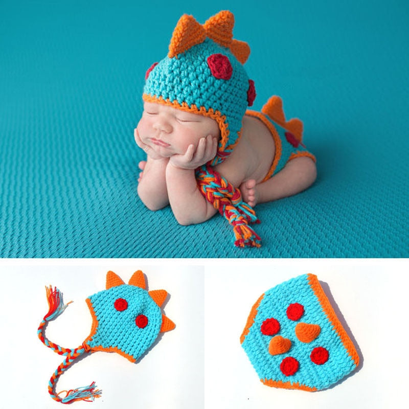Dinosaur Baby Photography props Dedicated hat cute Newborn Photograph infant cap Pants Two-piece knitting birthday gift