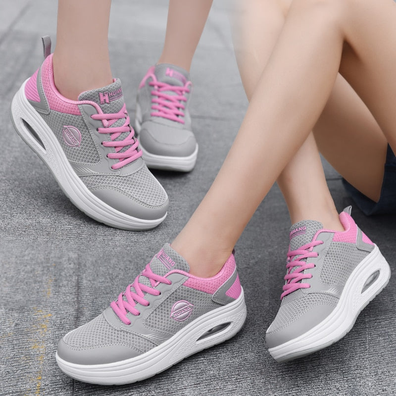 Womens Wedge Toning Sports Walking Shoes Shape Gym Fitness Trainers Loafers