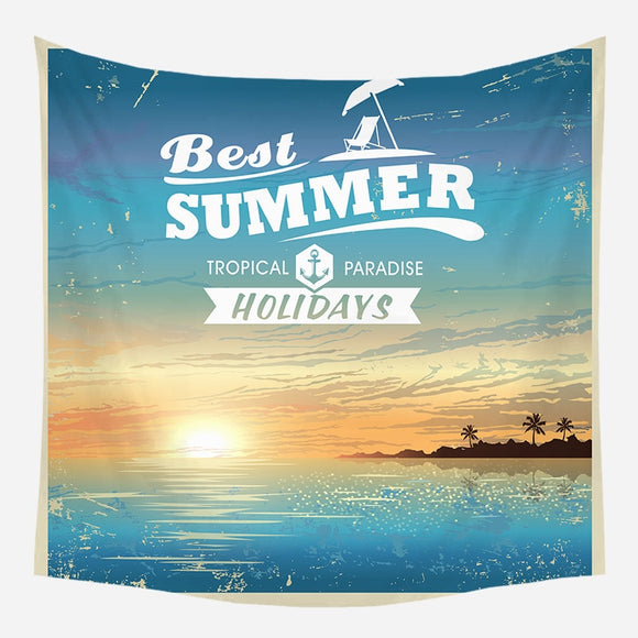 Vacation Style Tapestry Wall Hanging Summer Sea Pattern Blanket Colorful Carpet Multifunction Beach Towel Bedroom Decoration