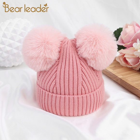 Bear Learder Hat Baby New Brand Winter Cap Knitted Wool Newborn Baby Girl Hats Plush Ball Cartoon Kids Hat Soft Warm Caps