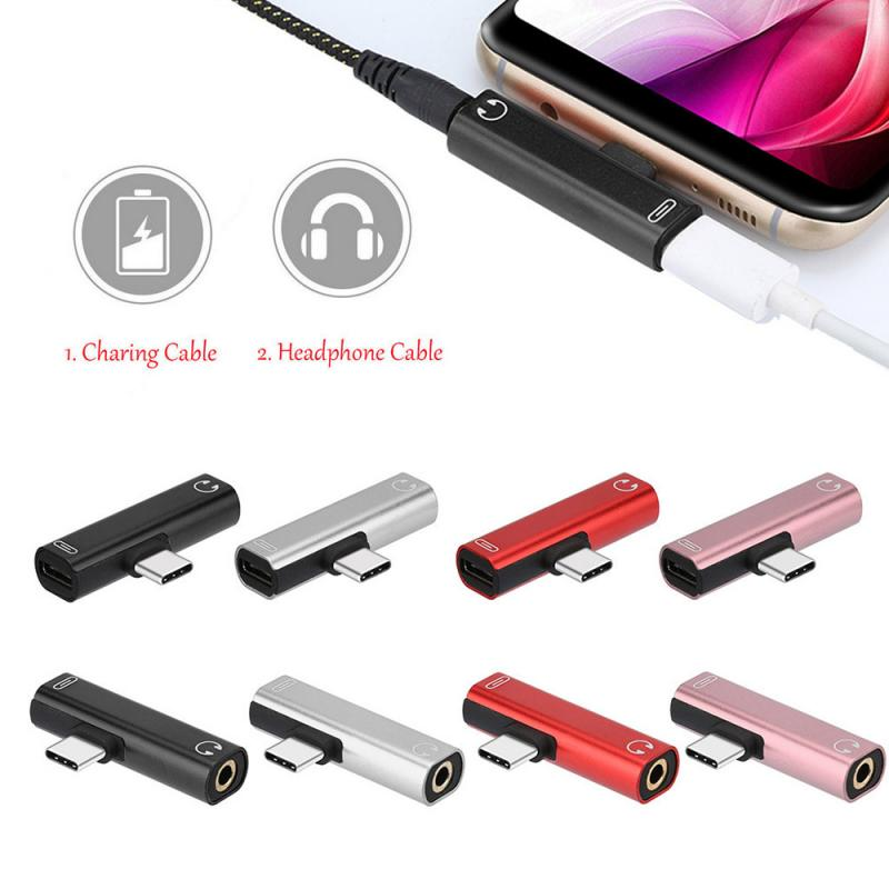 5 Colors 2 In 1 Type C To 3.5 Mm USB Cable USB Type C Cable For Huawei Mate 10 Pro For Xiaomi Mi Max 3 Earphone Accessories
