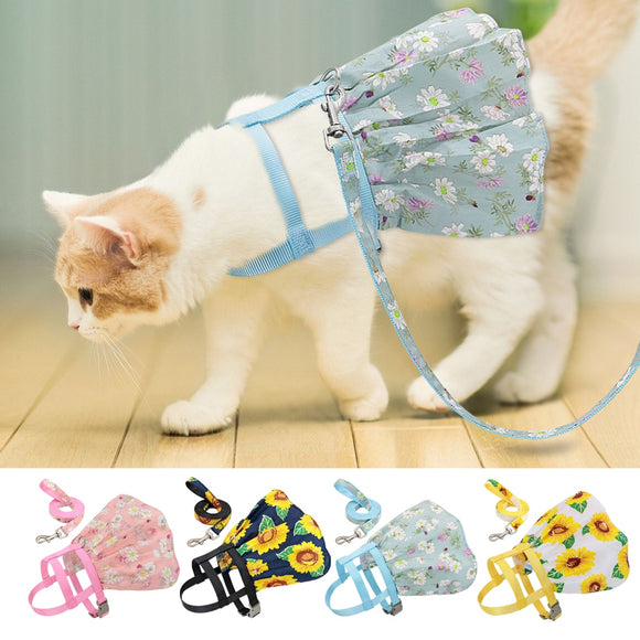 Summer Cat Harness Girl Dog Cats Dress Harnesses Cute Printed Kitten Puppy Skirt Pet Clothes for Small Dogs Yorkies Chihuahua