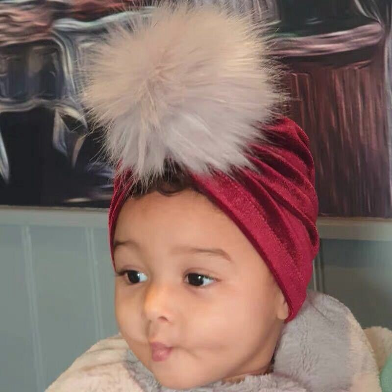 1-5years Cute Soft Hat  Faux Fur Pom Pom Newborn Kids Baby Girl Turban Flower Head Wrap Adjustable India Hat Cotton Warm Cap