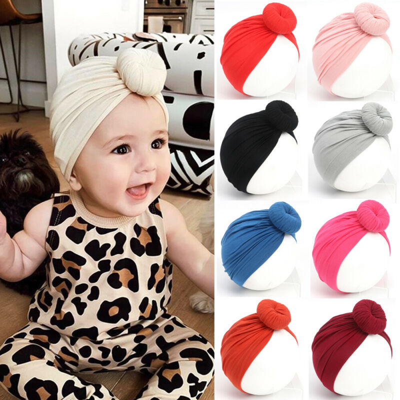 Newborn Kids Baby Boy Girl Turban Knot Cotton Hat Winter Warm Cap Elegant Stylish Sweet Cute Cotton Cap 11 Colors