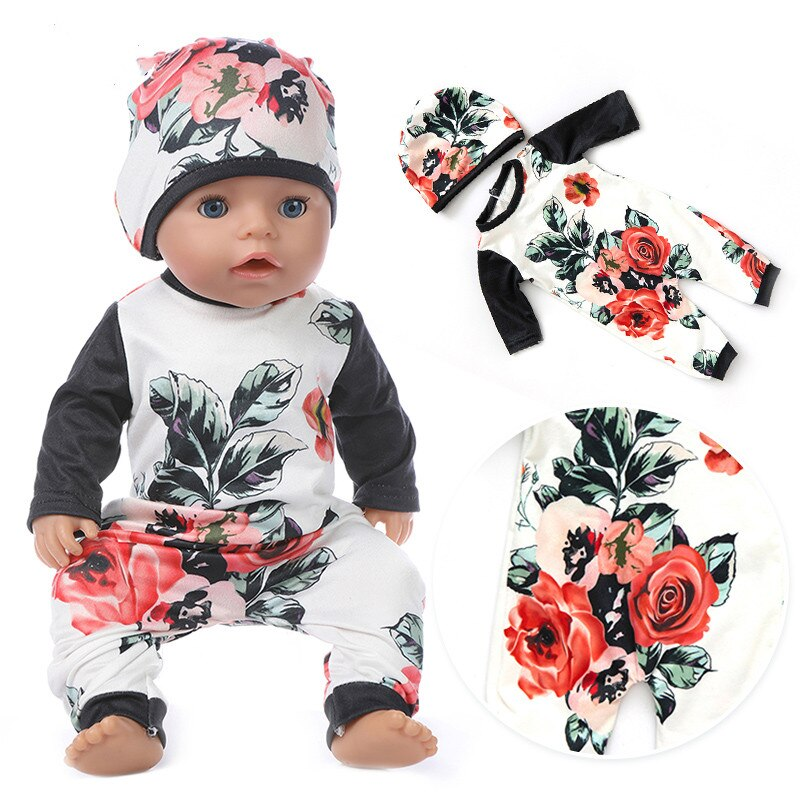 Fit 17 inch Born New Baby 43cm Doll Clothes Accessories 3-piece Hat Rose Suit For Baby Birthday Festival Gift